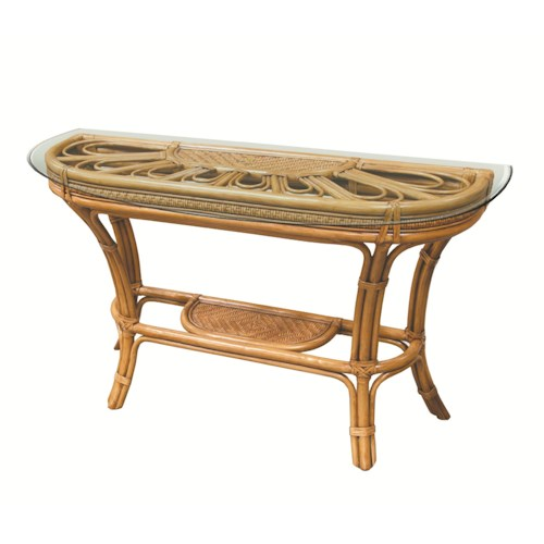 Capris Furniture 321 Collection Wicker Rattan Glass Top Sofa Table