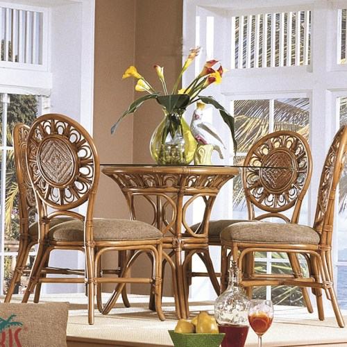 Capris Furniture 321 Collection Glass Top Wicker Rattan Table With Four Wicker Side Chairs