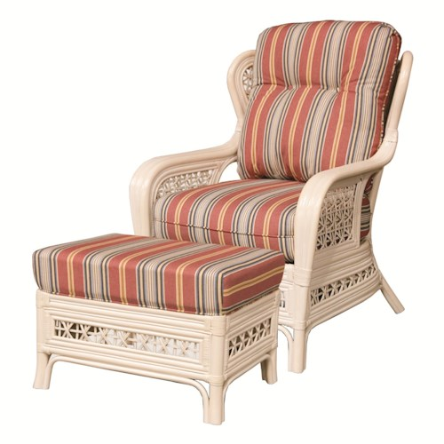 Capris Furniture 341 Collection Wicker Rattan Framed Upholstered Chair and Ottoman