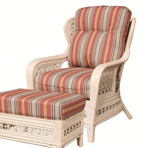 Capris Furniture 341 Collection Casual Wicker Rattan Upholstered Chair