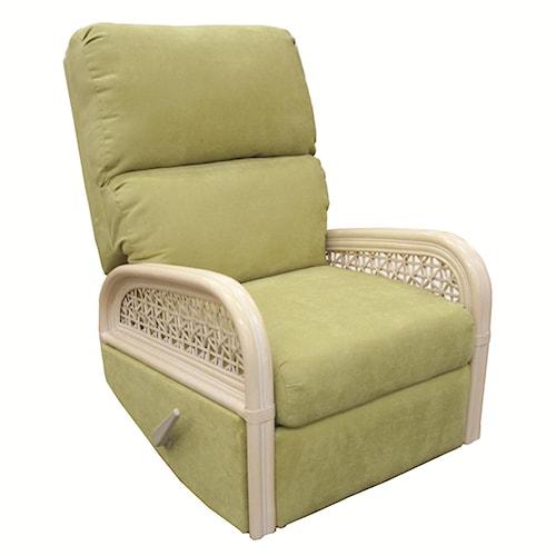 Capris Furniture 341 Collection Rattan Rocking Glider Recliner