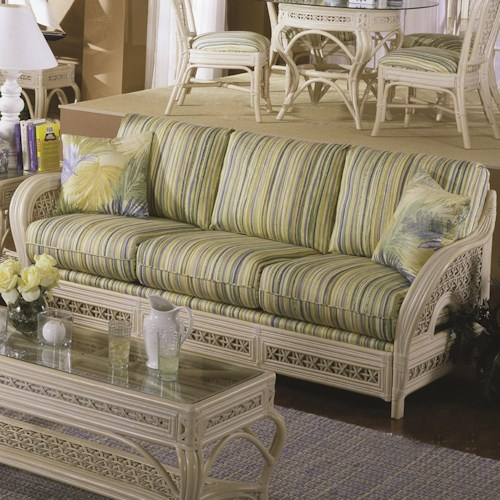 Capris Furniture 341 Collection Wicker Rattan Framed Sofa With Accent Pillows