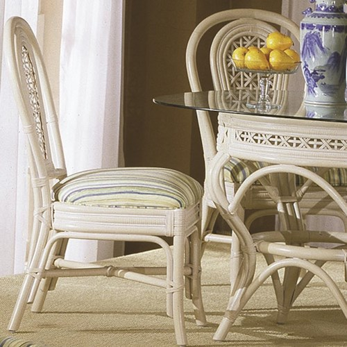 Capris Furniture 341 Collection Wicker Rattan Dining Side Chair With Upholstered Seat Cushion