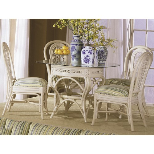 Capris Furniture 341 Collection Glass Top Wicker Rattan Table With Four Wicker Side Chairs