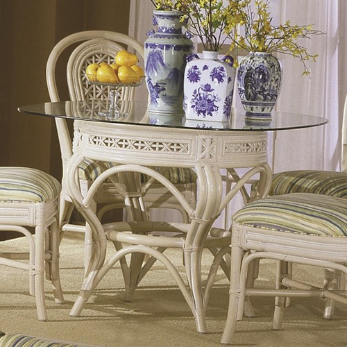 Capris Furniture 341 Collection Glass Top Wicker Rattan Round Table