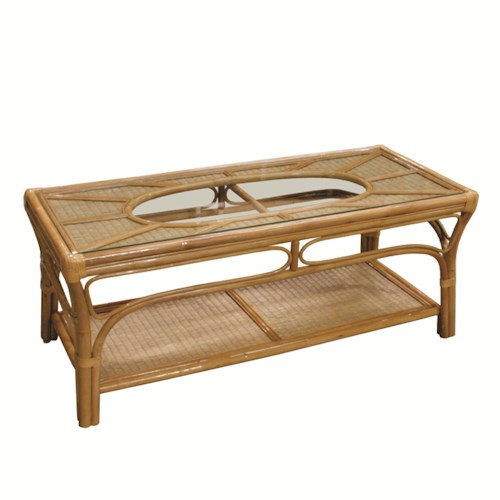 Capris Furniture 381 Collection Wicker Rattan Framed Glass Top Cocktail Table