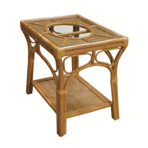 Capris Furniture 381 Collection Wicker Rattan Lamp Table