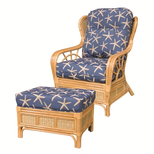 Capris Furniture 381 Collection Wicker Rattan Framed Upholstered Chair and Ottoman