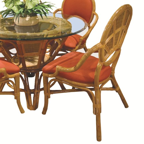 Capris Furniture 381 Collection Wicker Rattan Dining Arm Chair With Upholstered Seat Cushion