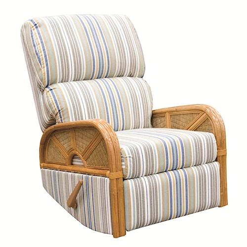 Capris Furniture 381 Collection Wicker Rattan Swivel Glider Recliner