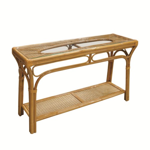 Capris Furniture 381 Collection Wicker Rattan Glass Top Sofa Table
