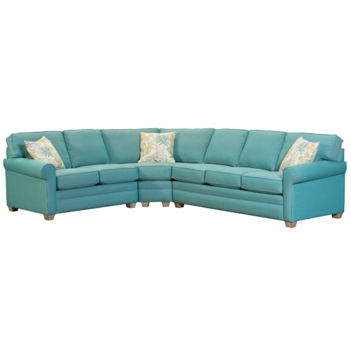 Capris Furniture 402 Casual Three Piece Rolled Arm Sectional Sofa