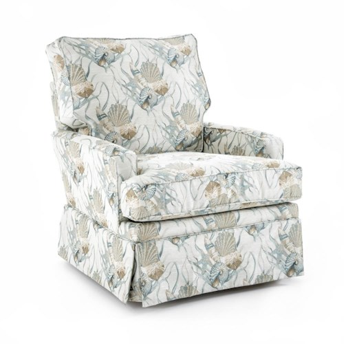 Capris Furniture SG120 Transitional Swivel Glider Chair with Kick Pleat Skirt