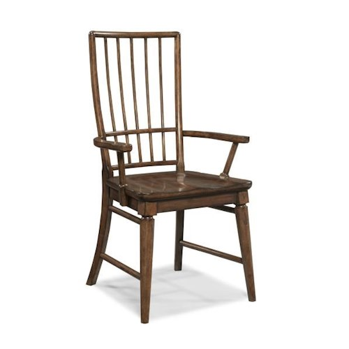 Morris Home Furnishings Livingston Cherry Rake Back Arm Chair