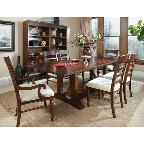 Easton Collection Blue Ridge 7 Piece Trestle Table with Ladder Back Chairs Set