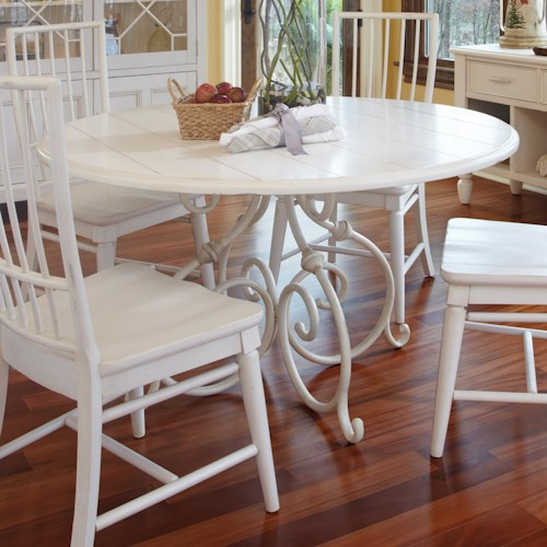 Easton Collection Sea Breeze Calabash 54'' Round White Dining Table