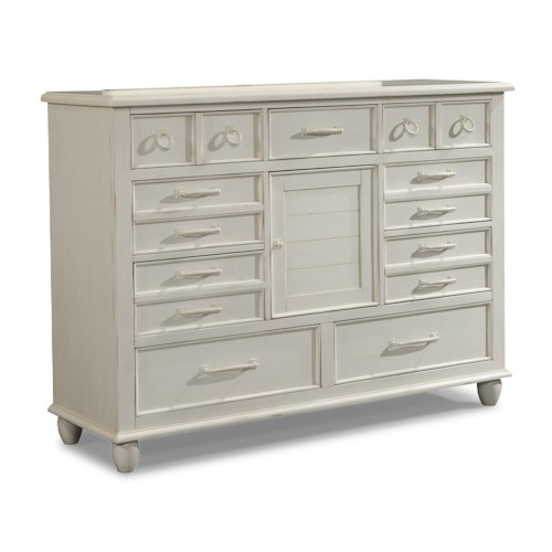 Easton Collection Sea Breeze White Dresser with Drawers and Doors