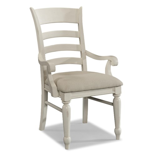 Easton Collection Sea Breeze White Ladder Back Arm Chair