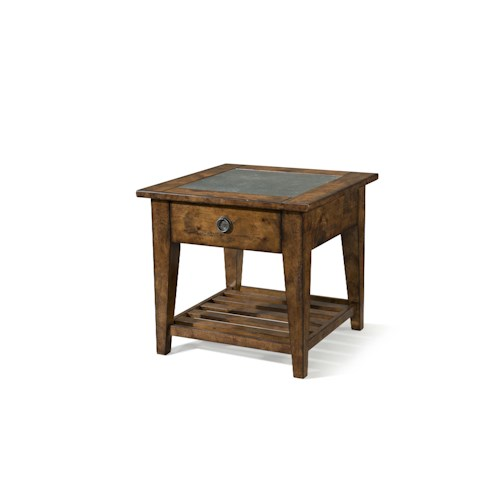 Easton Collection Farmhouse Dogleg Lamp Table with Drawer and Shelf