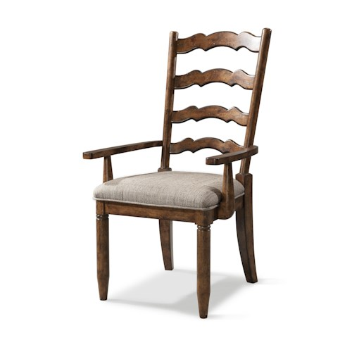 Easton Collection Farmhouse Ladderback Arm Chair with Upholstered Seat
