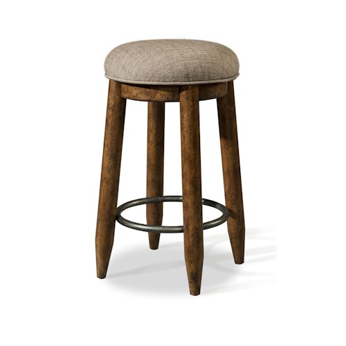 Easton Collection Farmhouse Stool with Upholstered Seat