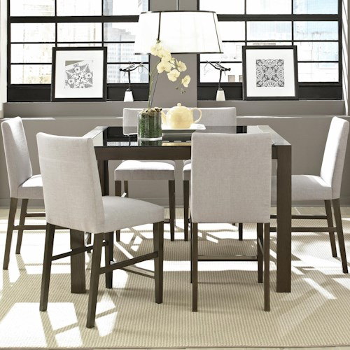 Belfort Select Modera Cafe Table with Glass Top and 6 Chair Set