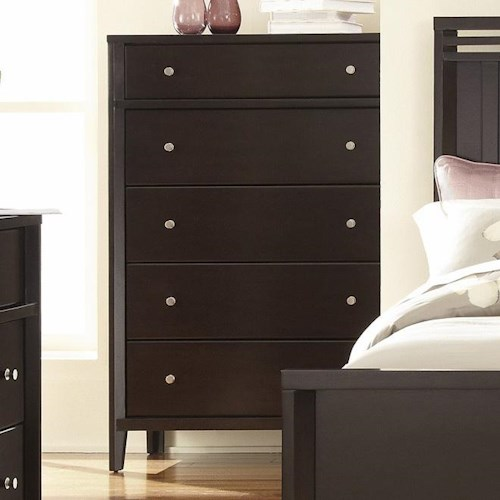 Belfort Select East Gate 5-Drawer Chest with Satin Nickel Knob Pull Hardware