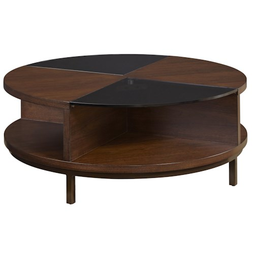 Belfort Select Tillis Round Cocktail Table with Nutmeg Finish and Tempered Glass Accent