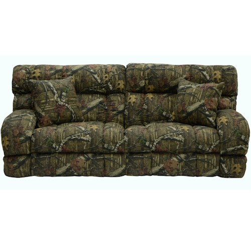 Catnapper Appalachian Casual Lay Flat Power Reclining Sofa with 2 Throw Pillows