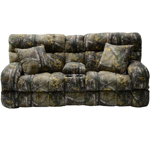 Catnapper Appalachian Casual Lay Flat Power Reclining Console Love Seat with 2 Throw Pillows