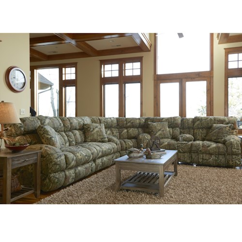 Catnapper Appalachian Casual Reclining Sleeper Sofa Sectional with 4 Throw Pillows