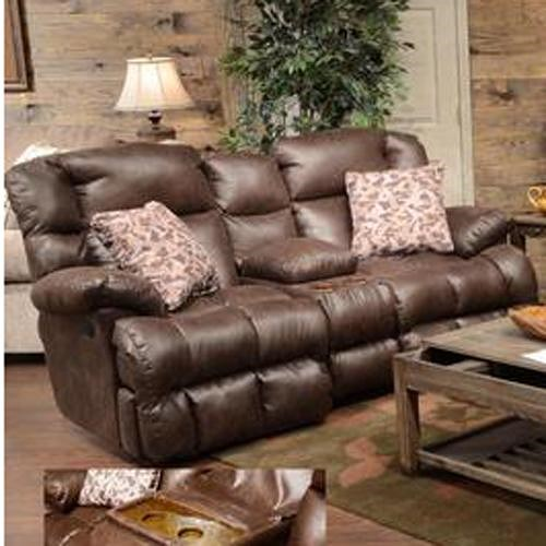 Catnapper Cedar Creek Casual Reclining Love Seat with Storage Console and Cup Holders