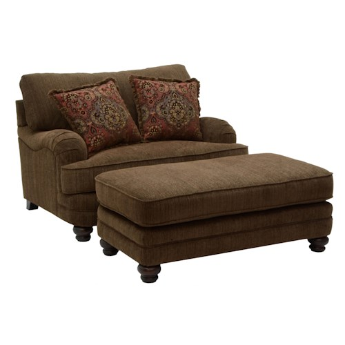 Jackson Furniture Brennan Formal Chair and a Half and Ottoman for Living Rooms