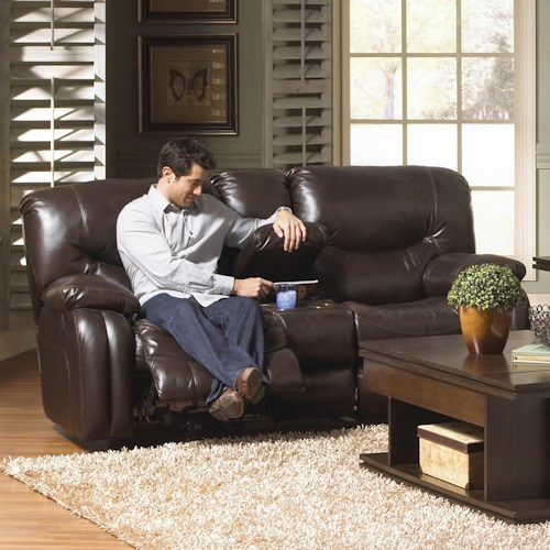 Catnapper Arlington Power Reclining Console Loveseat with Storage and Cupholders