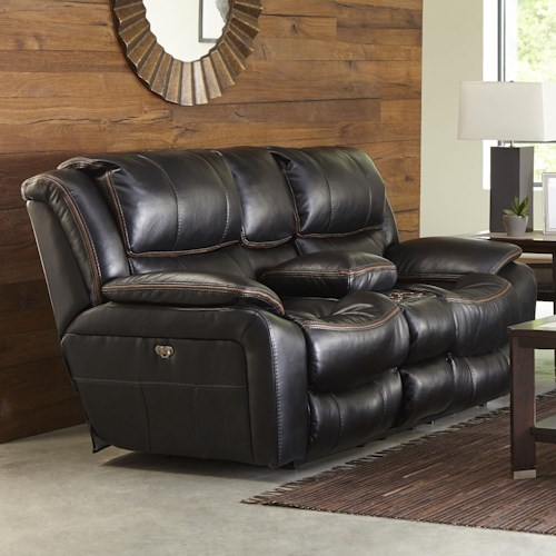 Catnapper Beckett Power Reclining Loveseat with USB Port, Cup Holders and Storage Console