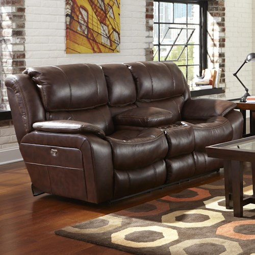 Catnapper Beckett Reclining Loveseat with USB Port, Cup Holders and Storage Console