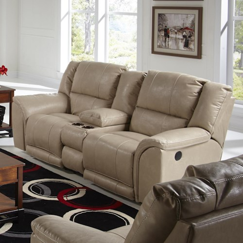 Catnapper Carmine Lay Flat Reclining Console Loveseat with Dual USB Port