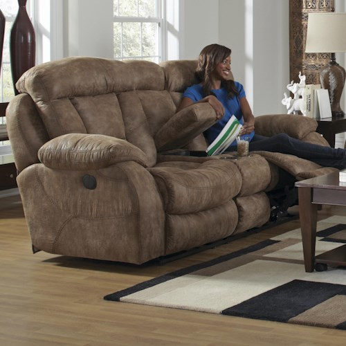 Catnapper Desmond Lay Flat Loveseat with Storage Console and Cupholders