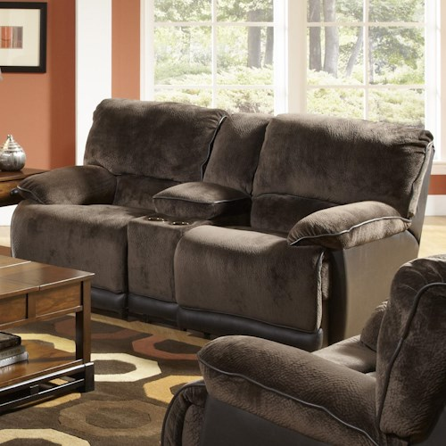 Catnapper Escalade 171 Transitional Reclining Counsel Loveseat with Storage and Cupholders