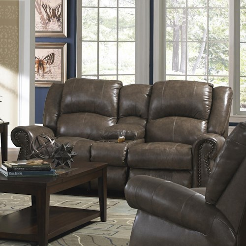 Catnapper Livingston Dual Gliding Console Loveseat with Nailhead Trim