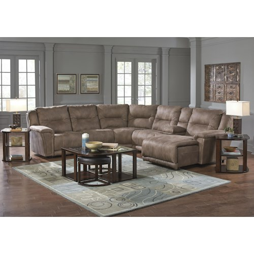 Catnapper Montgomery Reclining Sectional with 4 Seats and 1 Chaise