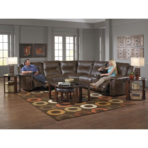 Catnapper Montgomery Reclining Sectional with 5 Seats and 1 Console