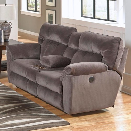 Catnapper Nichols Layflat Console Loveseat with Cupholders