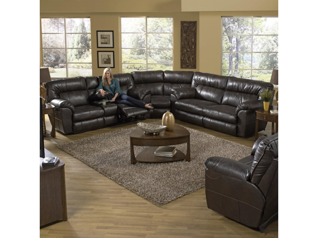 Shown Right Corner with Coordinating Collection Sectional Sofa. Recliner Shown May Not Represent Exact Features Indicated.