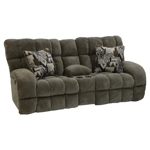 Catnapper Siesta  Power Lay Flat Reclining Console Loveseat with Wide Seats