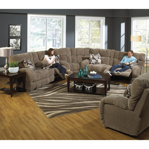 Catnapper Siesta  Power Reclining Sectional Sofa with Cup Holders