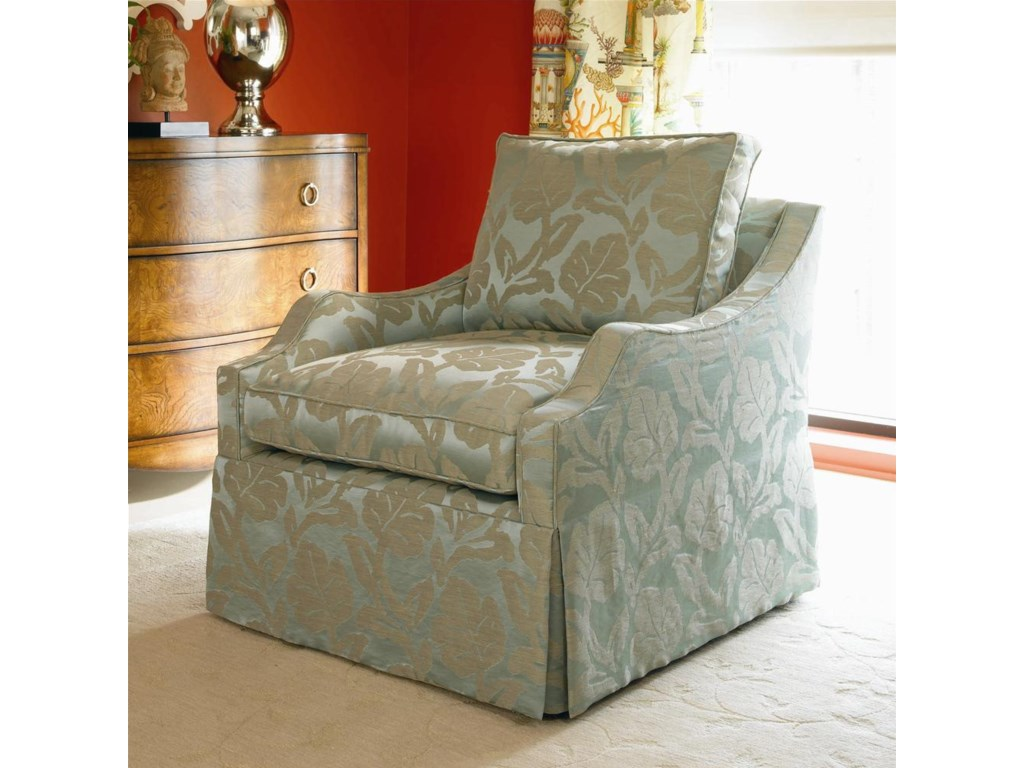 Shown with Sloped Track Arm, Loose Cushion Back, Waterfall Skirt, and Boxed Welted Cushions