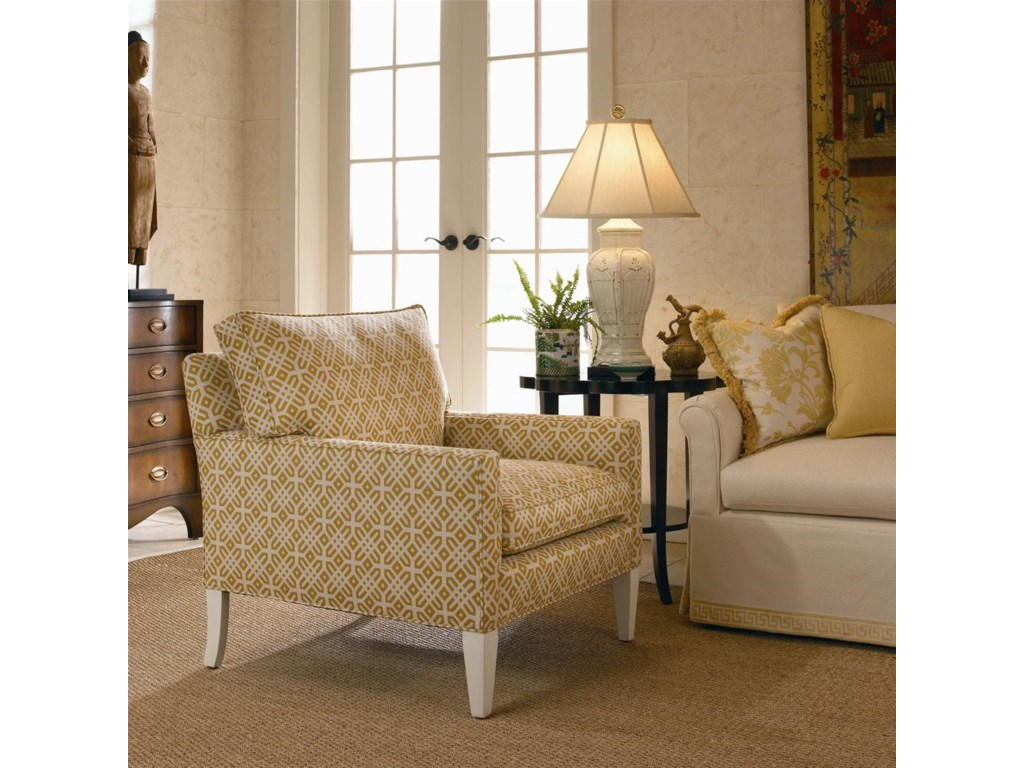 Shown with Track Arm, Loose Cushion Back, Skirtless Exposed Wood Tapered Square Leg, and Boxed Welted Cushions
