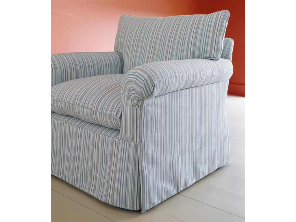Shown with Pleated Arm, Loose Cushion Back, Waterfall Skirt, and Knife-Edge Welted Cushions