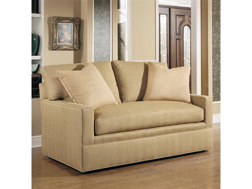 Shown in 64 Inches, with a Straight Cushion Track Arm, Boxed Weltless Cushion, and Upholstered Base